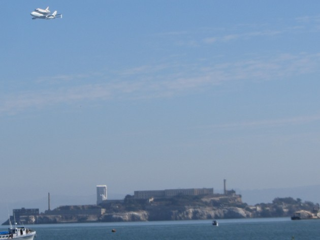Shuttle Endeavor over Alcatraz
