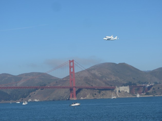 Shuttle Endeavor over the Golden Gate Bridge