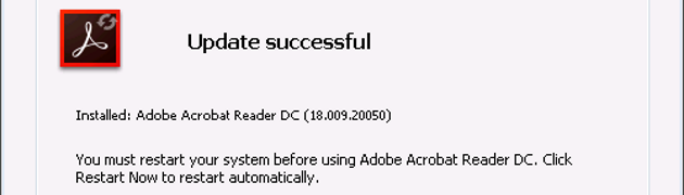 Adobe Acrobat Reader DC needs a reboot after updating