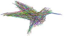 Generation three thousand of a genetic algorithm learning to draw a hummingbird