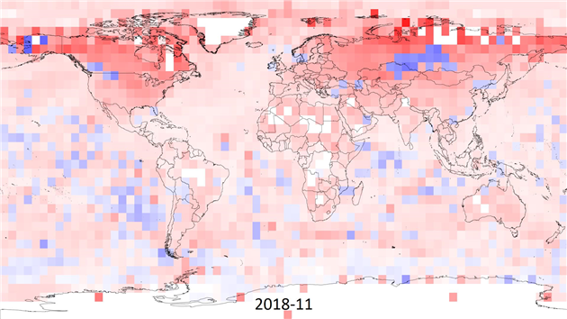 Global temperature maximum anomaly from Jan 2010 to Nov 2018