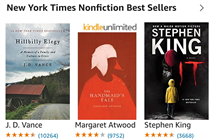 Kindle New York Times Nonfiction Bestsellers including Stephen King and Margaret Atword