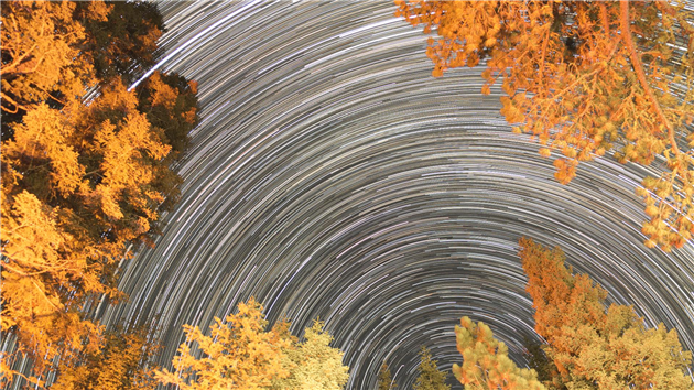 Star trails from the Manzanita Lake campground at Lassen Volcanic National Park