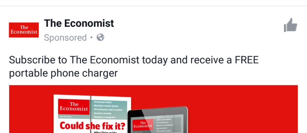 Subscribe to The Economist today and receive a FREE portable phone charger - ad seen on Facebook