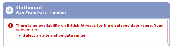 There is no availability on British Airways for the displayed date range.