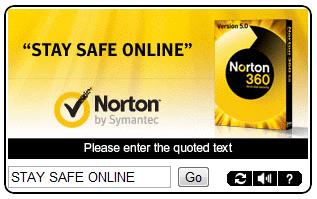 Norton 360 CAPTCHA ad