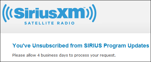 You've Unsubscribed from SIRIUS Program Updates - Please allow 4 business days to process your request.