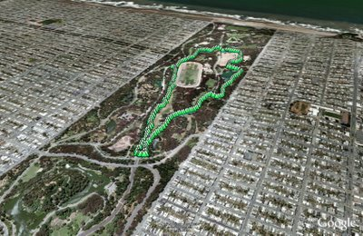 Golden Gate Park loop in Google Earth