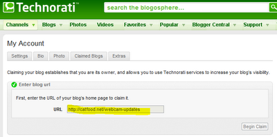 Technorati Blog Claim Fail